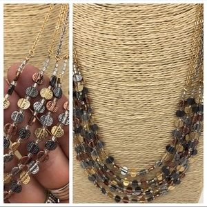 Multi Strand Silver Gold Rose Gold Necklace